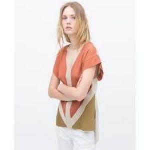 Zara Earth Tone Color Block High Low Top